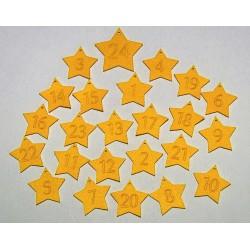 Sada dekorací 9 - filc - hvězdy (čísla - řez)