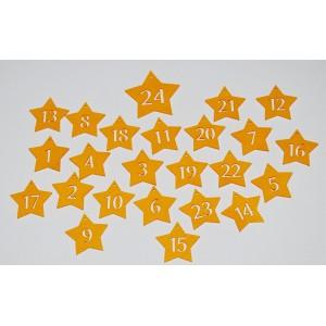Sada dekorací 10 - filc - hvězdy (čísla - výřez)