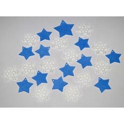 Sada dekorací 20 - filc - hvězdy m. a vločky b.