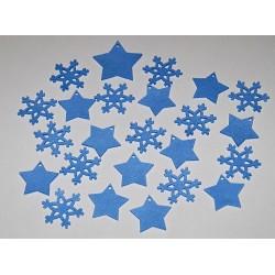 Sada dekorací 18 - filc - hvězdy a vločky modré