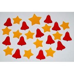 Sada dekorací 23 - filc - hvězdy a zvony