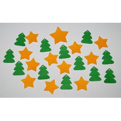 Sada dekorací 24 - filc - hvězdy a stromy