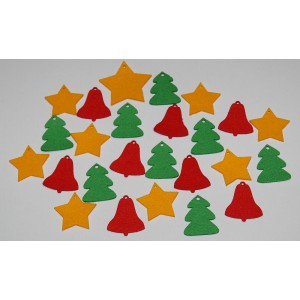 Sada dekorací 26 - filc - hvězdy, zvony a stromy