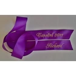 Taftová stuha na kytici - tmavě fialová